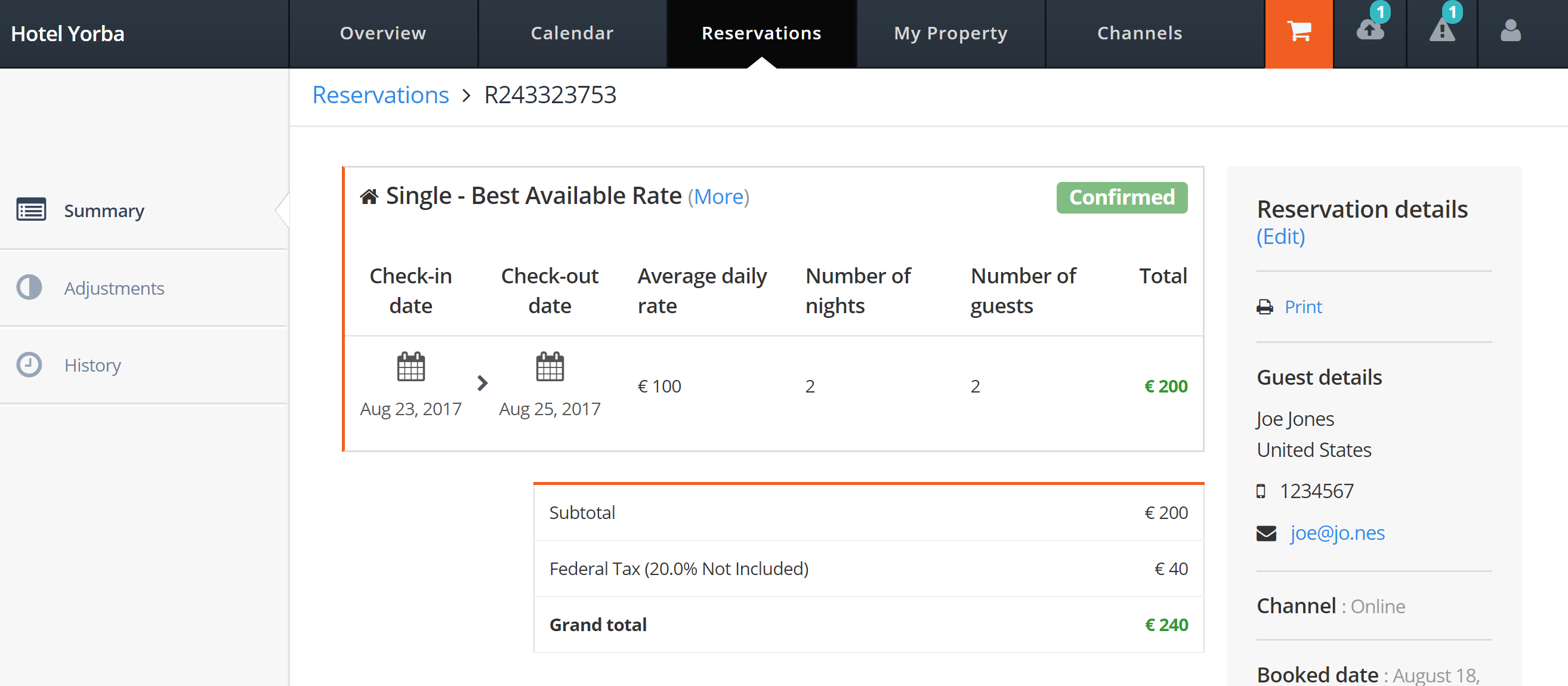 MyHotelCRS.com.com Click 'view' to view the details for the new reservation booking updated to 'Confirmed' in MyHotelCRS.com's portal