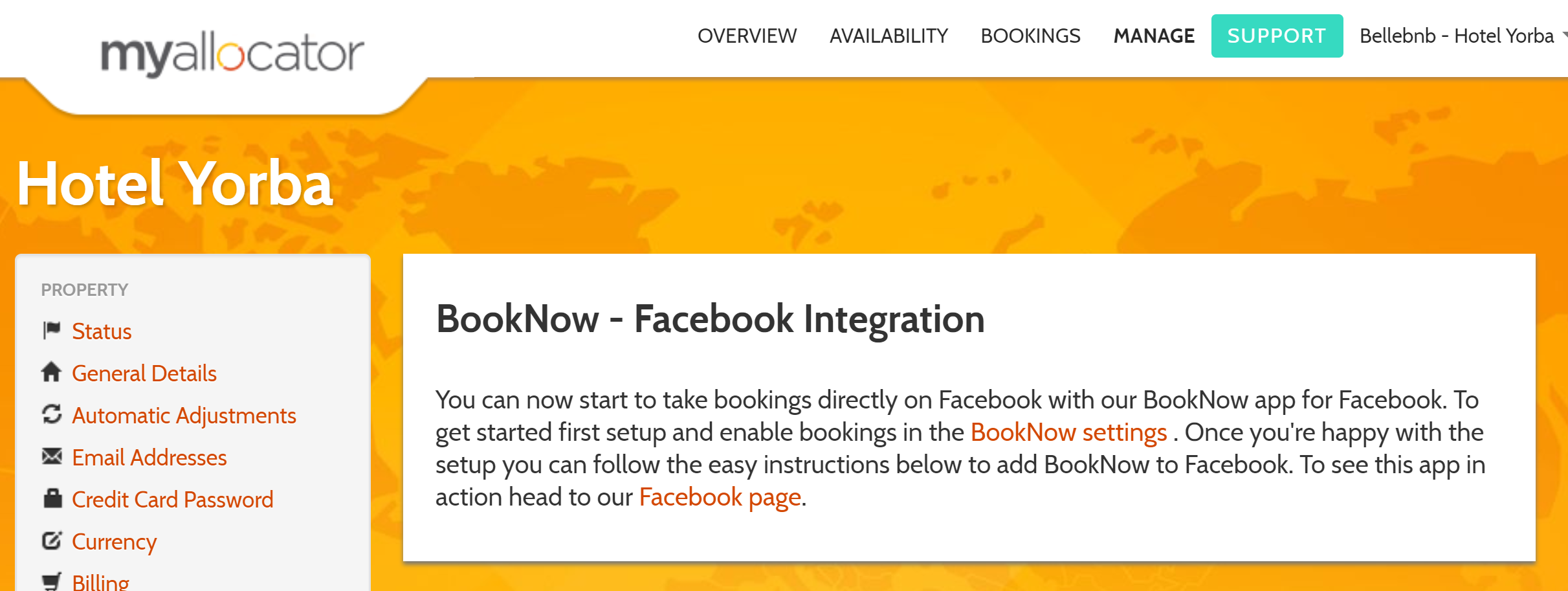 Facebook Integration You can accept reservations directly from your hotel's Facebook page using one of the embedding widgets available through our channel manager. Adding a booking widget can be done in just a couple of steps, and all your reservations that come in through your Facebook page are commission free