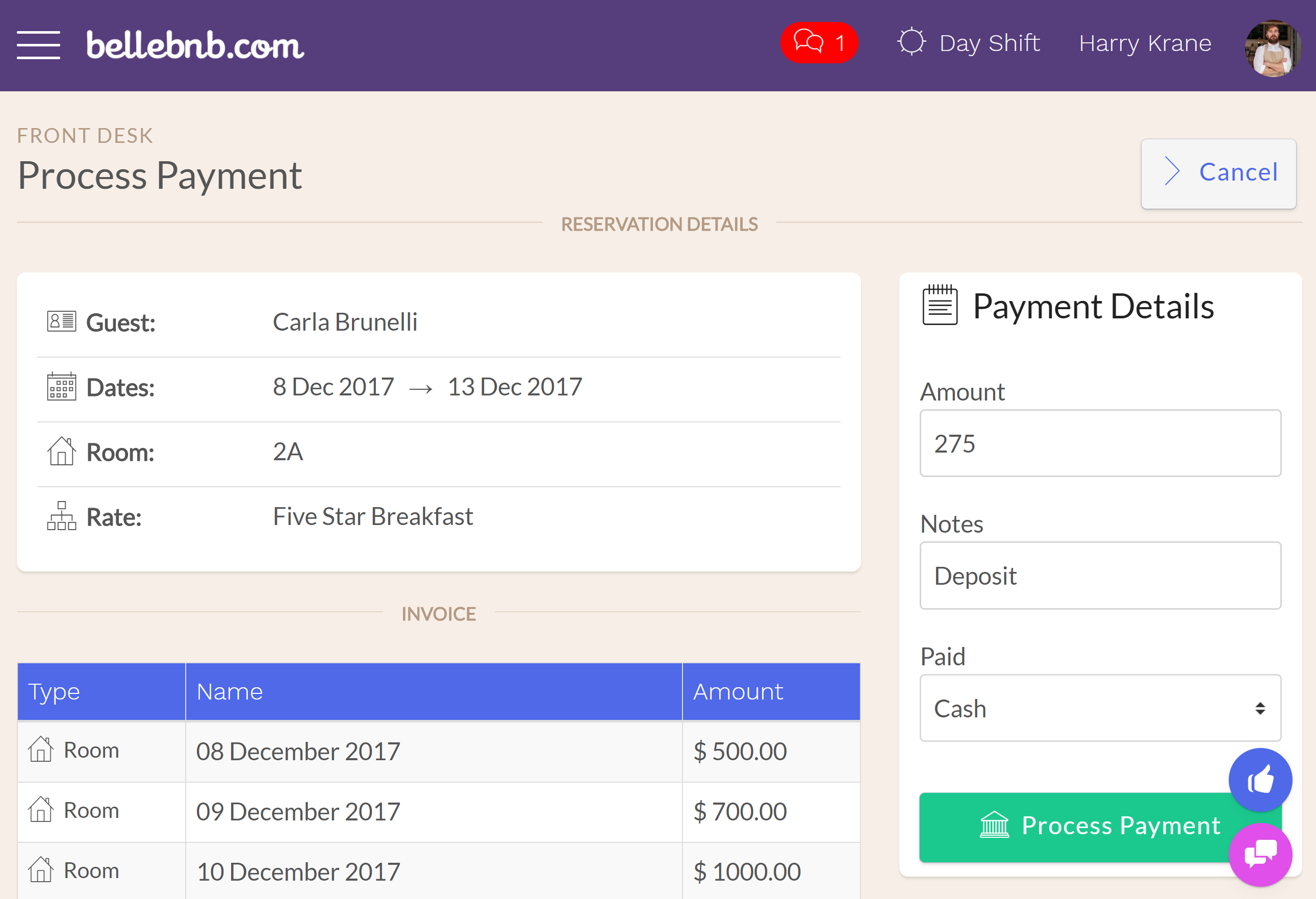 Before you check in this guest, let's process a payment. Click 'Actions > Process a Payment,' then enter an amount for a deposit (no more than the total) and click to process the payment.