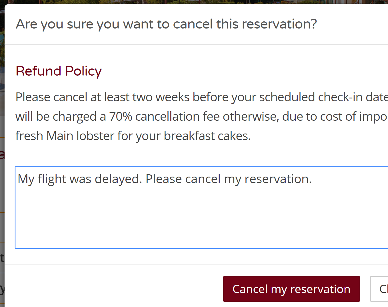 Cancel through the booking engine